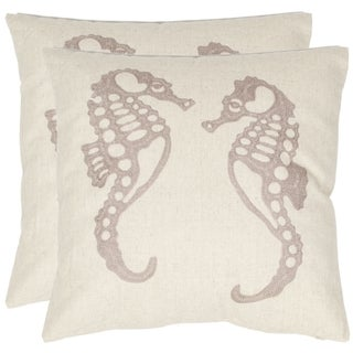 Seahorse 18-inch Cream/ Taupe Decorative Pillows (Set of 2)