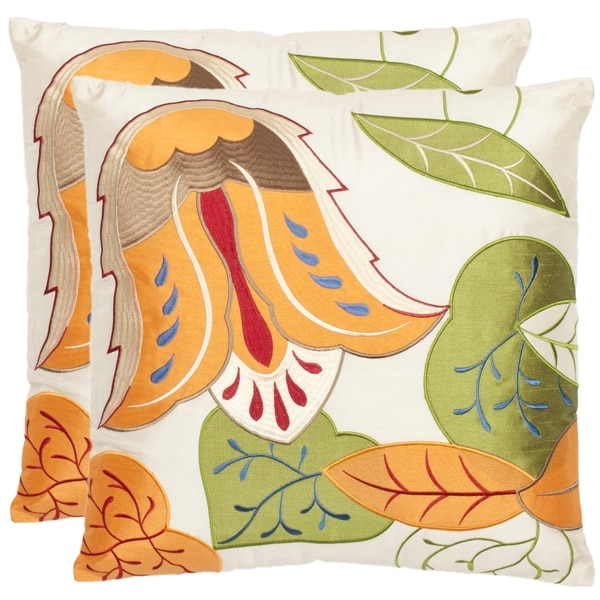 Safavieh Botanical 18-inch Cream Decorative Pillows (Set of 2)