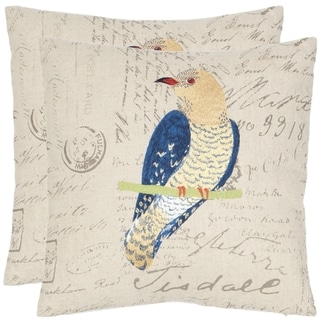 Safavieh Regal Parrot 18-inch Cream/ Blue Decorative Pillows (Set of 2)