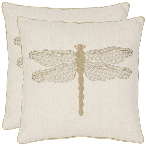 Decorative Cream Pillows : Safavieh Dragonfly 18-inch Cream/ Green Decorative Pillows (Set of 2) - 14006603 - Overstock.com ...