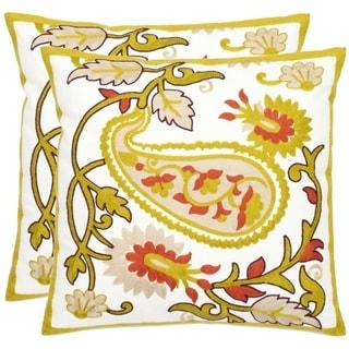 Safavieh Paisley Motif 18-inch White/ Olive Decorative Pillows (Set of 2)