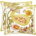 Paisley Motif 18-inch White/ Olive Decorative Pillows (Set of 2)