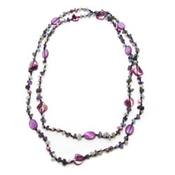 Purple Mother of Pearl and Amethyst Pearl Necklace (6-7 mm)(Thailand)