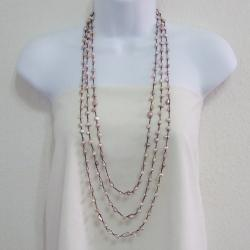 Pink Freshwater Pearl Three-Strand Necklace (6-11 mm)(Thailand)