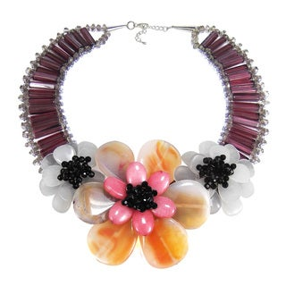 Sterling Silver Mystic Agate and Quartz Floral Necklace (Thailand)