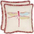Fuchsia Dragonfly 18-inch Beige/ Red Decorative Pillows (Set of 2)