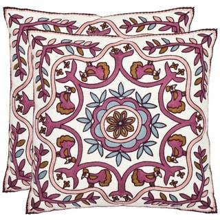 Safavieh Ruddy 18-inch White/ Purple Decorative Pillows (Set of 2)