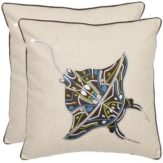 Safavieh Stingray 18-inch Cream/ Brown Decorative Pillows (Set of 2)