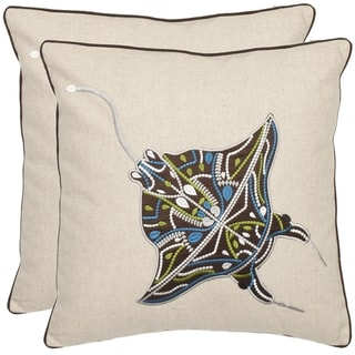 Safavieh Stingray 18-inch Cream/ Brown Decorative Pillows (Set of 2)