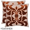 Damask 18-inch Cream/ Brown Decorative Pillows (Set of 2)