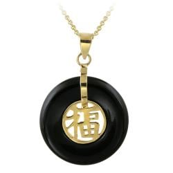 Glitzy Rocks 18k Gold over Silver Onyx Blessing Necklace