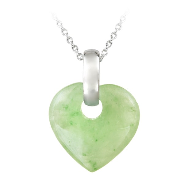 Glitzy Rocks Sterling Silver Green Jade Heart Necklace