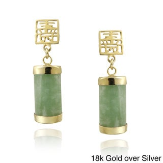 Glitzy Rocks Sterling Silver Green Jade Dangle Earrings
