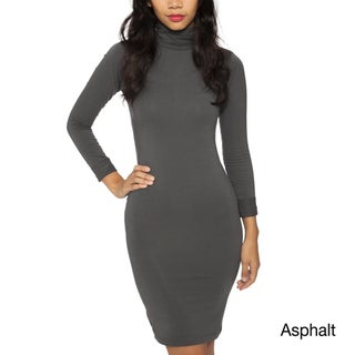 American Apparel Women's Cotton Spandex Jersey Turtleneck Dress
