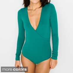 American Apparel Women's Cotton Spandex Jersey Cross-V Bodysuit