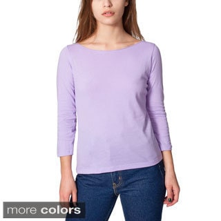 American Apparel Women's Sheer Jersey 3/4-length Sleeve Boat Neck Shirt