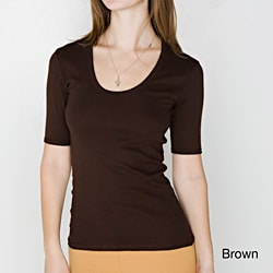 American Apparel Women's Baby Rib Half-Sleeve U-Neck Tee