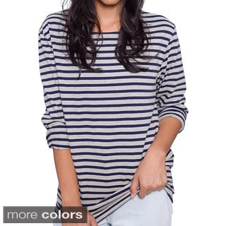 American Apparel Unisex Creme Navy Stripe Sailor Long Sleeve Pullover