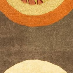 Handmade Soho Brown/ Multi New Zealand Wool Rug (2'6 x 12')