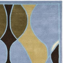 Safavieh Handmade Tiff Blue New Zealand Wool Rug (7'6 x 9'6)