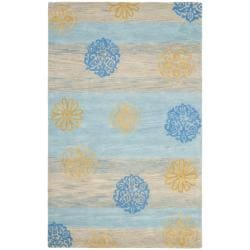 Handmade Eternity Blue New Zealand Wool Rug (7'6 x 9'6)