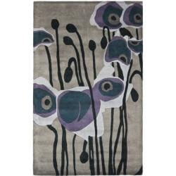 Handmade Elegance Grey/ Blue New Zealand Wool Rug (3'6 x 5'6')