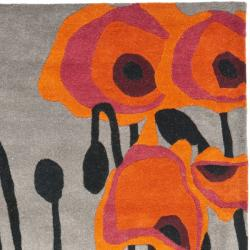 Handmade Elegance Grey/ Orange New Zealand Wool Rug (5'x 8')