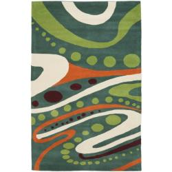 Handmade Journey Teal New Zealand Wool Rug (7'6 x 9'6)