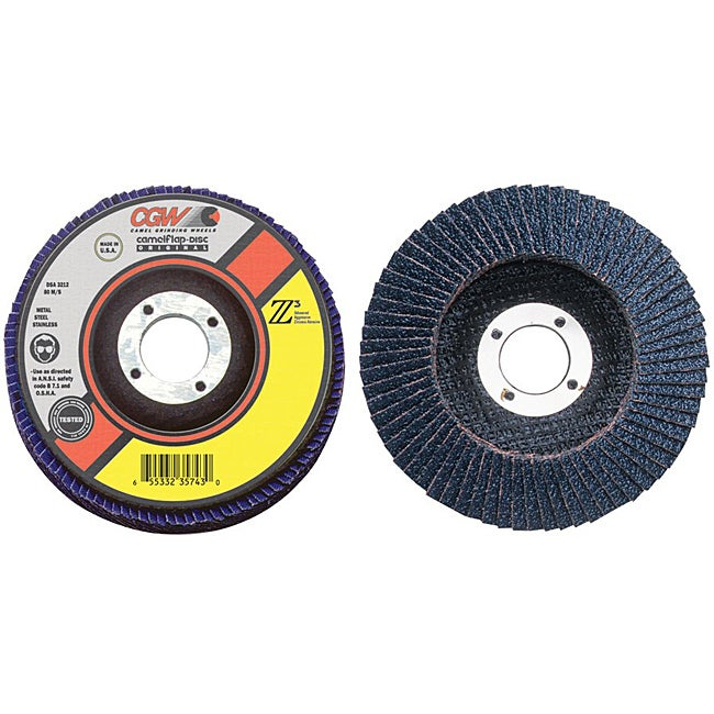 CGW Abrasives 'Type 27' 4-1/2 inch x 7/8 inch Zirconia Flap Disc