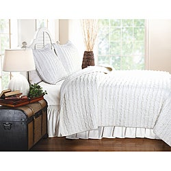 Ruffled White 3-piece Quilt Set