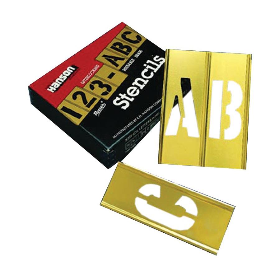 Ch hanson 45 piece letter number brass stencil set 2 for Metal stencil set letters
