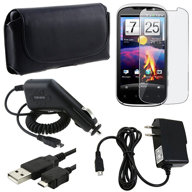 Leather Case/ Screen Protector/ Chargers/ USB Cable for HTC Amaze 4G