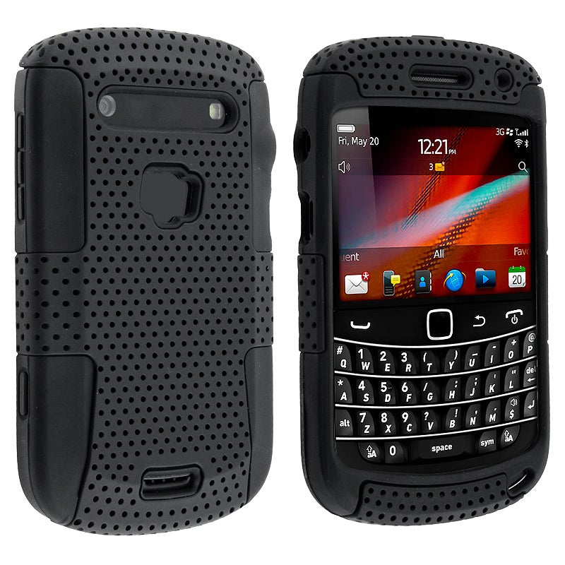 INSTEN Black/ Black Hybrid Phone Case Cover for BlackBerry Bold 9900/ 9930