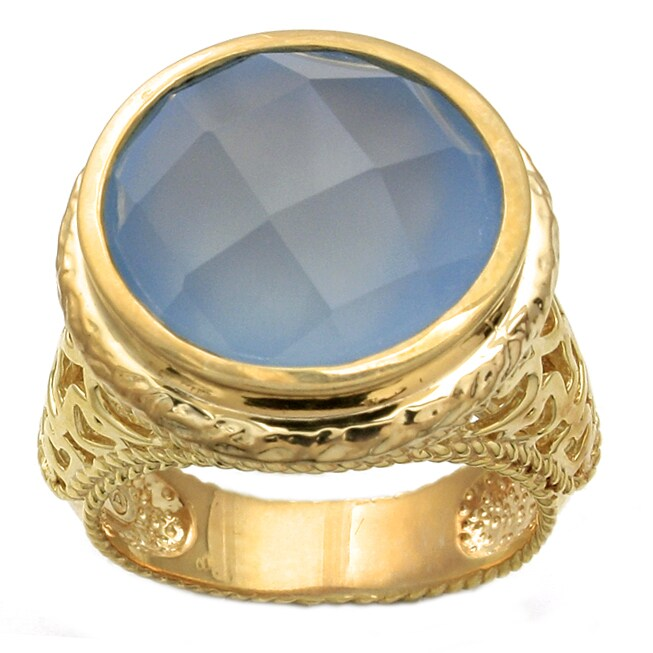 Beverly Hills Charm Silver and 14k Goldplated Blue Chalcedony Ring