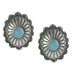 Tressa Sterling Silver Children's Created Turquoise Ornate Stud Earrings