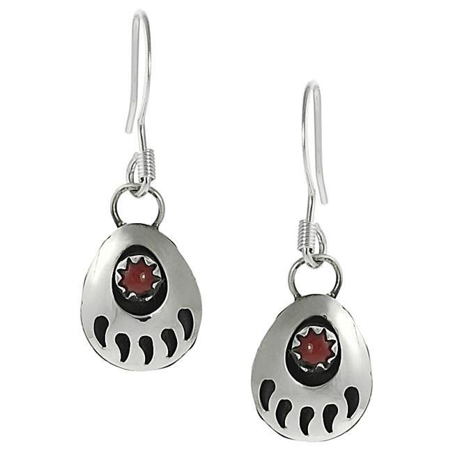 Journee Sterling Silver Children's Created Red Stone Bear Claw Dangle Earrings