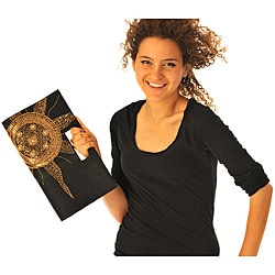 Black Silk Gold Sun Embroidered Clutch (India)