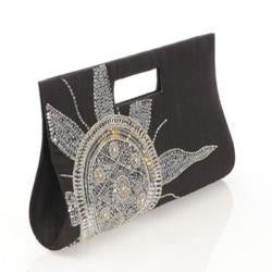 Black Silk Silver Sun Embroidered Clutch (India)