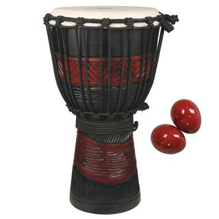 Mahogany Red and Black Djembe Drum/Shaker Set(Indonesia)