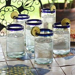 Set of 6 Blown Glass 'Classic' Drinking Glasses (Mexico)