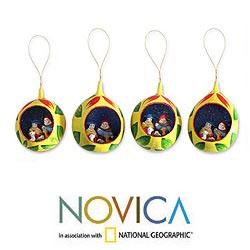 Set of 4 Ceramic 'Christ Child' Ornaments (Peru)