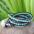 Leather 'New Tribal' Amazonite Pearl Bracelet (7-8.5 mm) (Thailand)
