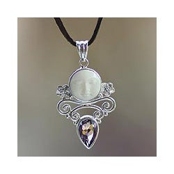 Sterling Silver 'Guardian Moon' Amethyst Necklace (Indonesia)