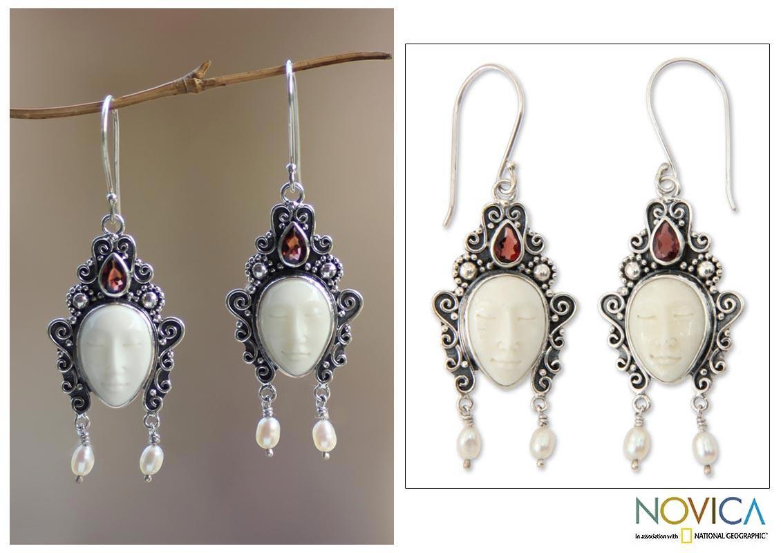 Sterling Silver 'Dedes' Garnet and Pearl Earrings (4 mm) (Indonesia)