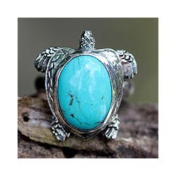 Sterling Silver Men's 'Chelonia Turtle' Turquoise Ring (Indonesia)