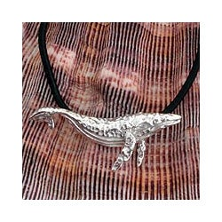 Sterling Silver 'Great Grey Whale' Leather Necklace (Mexico)