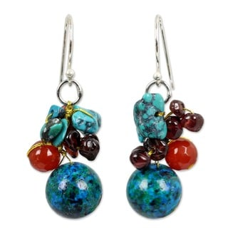 Earth Turquoise Color Beads with Carnelian and Garnet Gemstones 925 Sterling Silver Womens Cluster Dangle Earrings (Thailand)