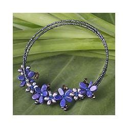Stainless Steel 'Phuket Flowers' Pearl Choker (3.5-6.5 mm) (Thailand)