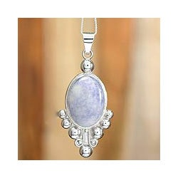 Sterling Silver 'Lilac Jocotenango' Jade Necklace (Guatemala)