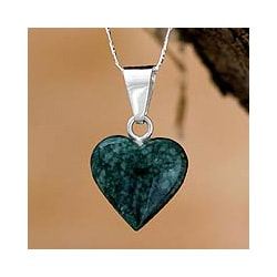 Sterling Silver 'Love Immemorial' Jade Heart Necklace (Guatemala)
